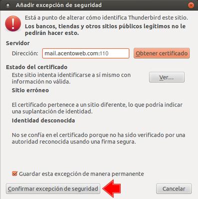 Thunderbird: confirmar excepción de seguridad (Certificado SSL)