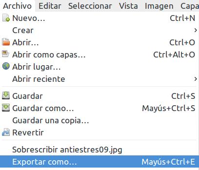 Archivo -> Exportar como