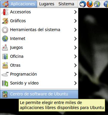 Iniciamos el Centro de software de Ubuntu a través del menú Aplicaciones