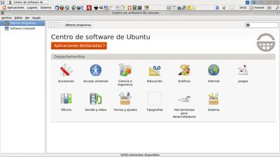Pantalla principal del Centro de software de Ubuntu