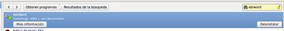Abiword instalado y botón desinstalar (resultados de la búsqueda en el Centro de software de Ubuntu).