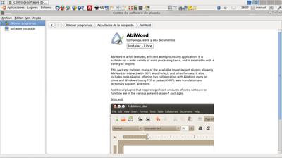 Ficha informativa de Abiword en el Centro de software de Ubuntu