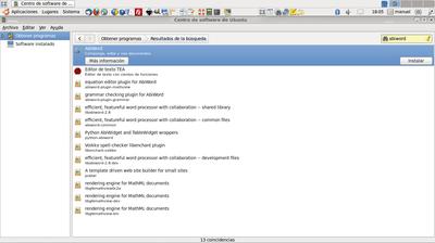 Resultados de búsqueda de abiword en el Centro de software de Ubuntu